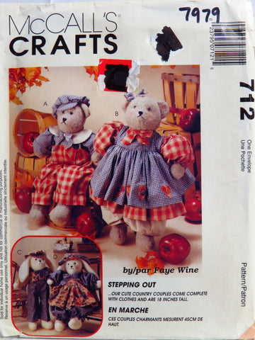 McCall's 0712 Stepping Out, Country Bear and Bunny Couples -  - Smiths Depot Sewing Pattern Superstore