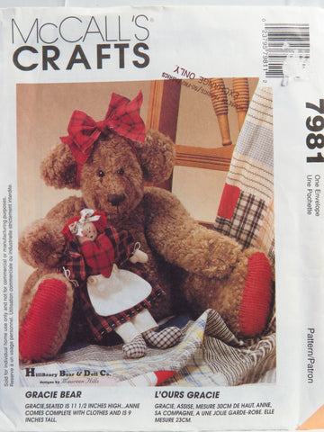 McCall's 7981 Gracie Bear and Her Doll -  - Smiths Depot Sewing Pattern Superstore