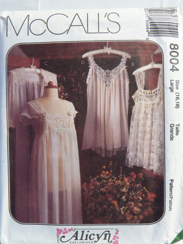 McCall's 8004 Misses' Lingerie - Lrg (16-18) - Smiths Depot Sewing Pattern Superstore