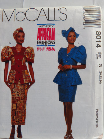 McCall's 8014 Misses' Top, Skirt in Two Lengths and Headwrap - G (20-22-24) - Smiths Depot Sewing Pattern Superstore