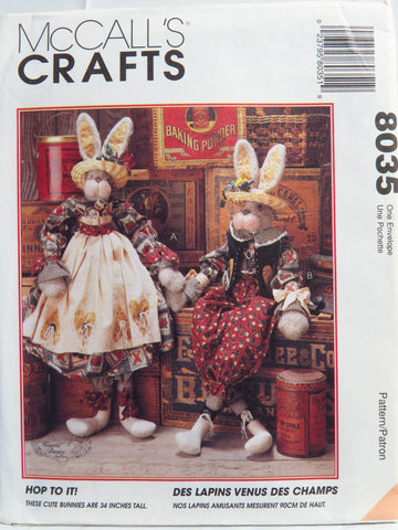 "McCall's 8035 Hop To It 34"" Bunnies and Clothes -  - Smiths Depot Sewing Pattern Superstore"