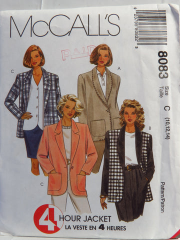 McCall's 8083 Misses' Lined or Unlined Jacket - C (10-12-14) - Smiths Depot Sewing Pattern Superstore