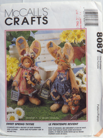 "McCall's 8087 Sweet Spring Thyme 16"" Bunnies and Clothes -  - Smiths Depot Sewing Pattern Superstore"