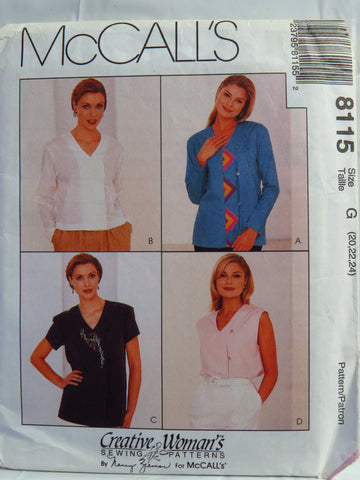 McCall's 8115 Misses' Blouse in Two Lengths - G (20-22-24) - Smiths Depot Sewing Pattern Superstore