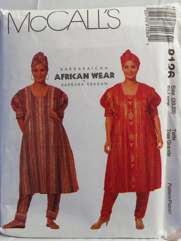 McCall's 8126 Misses' Dress, Pull-On Pants and Headwrap - Xlg (20-22) - Smiths Depot Sewing Pattern Superstore