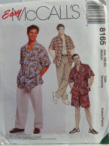 McCall's 8165 Men's Shirt, Tank Top, Pants and Shorts - Medium (38-40) - Smiths Depot Sewing Pattern Superstore