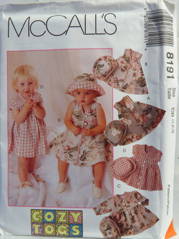 McCall's 8191 Toddlers' Dress and Hat - CB (1-2-3) - Smiths Depot Sewing Pattern Superstore