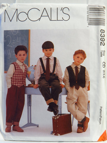 McCall's 8392 Children's and Boys' Lined Vest, Shirt, Pants and Tie - CD (2-3-4) - Smiths Depot Sewing Pattern Superstore