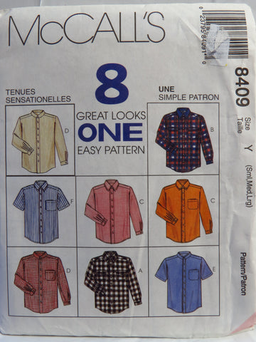 McCall's 8409 Men's Shirts - Y (34-36-38-40-42-44) - Smiths Depot Sewing Pattern Superstore