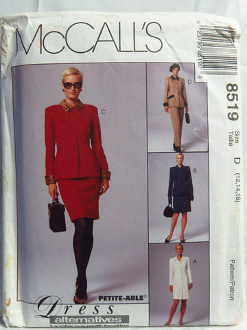 McCall's 8519 Misses' Lined Jacket, Lined Dress, Pants and Skirt - D (12-14-16) - Smiths Depot Sewing Pattern Superstore  - 1