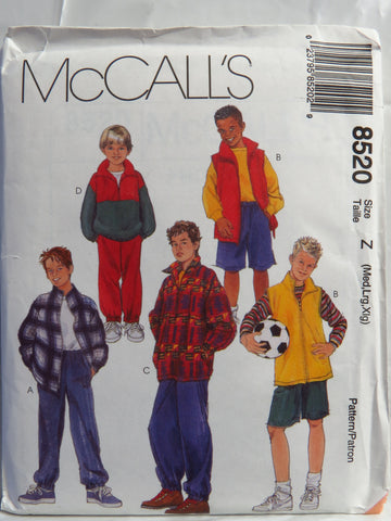 McCall's 8520 Children's/Boys' Unlined Jacket and Vest, Pullover Top, Pull-On Pants and Shorts - Z (7-8-10-12-14-16) - Smiths Depot Sewing Pattern Superstore