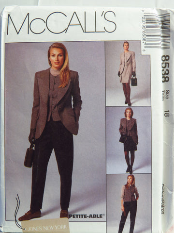 McCall's 8538 Misses' Lined Jacket, Lined Vest, Pants and Skirt - 18 - Smiths Depot Sewing Pattern Superstore