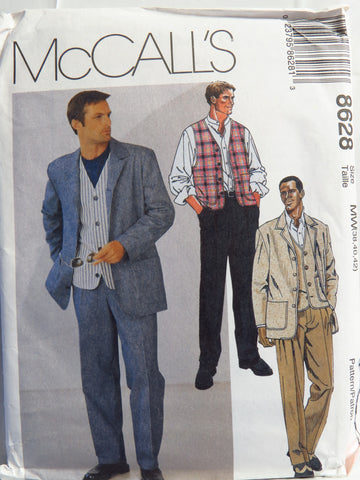 McCall's 8628 Men's Unlined Jacket, Lined Vest and Pants -  - Smiths Depot Sewing Pattern Superstore