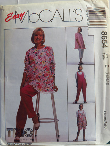 McCall's 8654 Maternity Tunic, Jumpsuit in Two Lengths and Pants in Two Lengths - E (14-16-18) - Smiths Depot Sewing Pattern Superstore