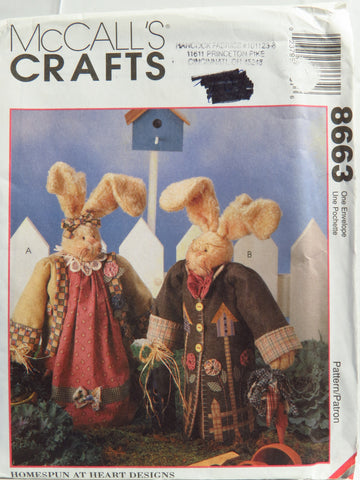 "McCall's 8663 Sweet Basil and Herb Bunnies 14"" Plush -  - Smiths Depot Sewing Pattern Superstore"