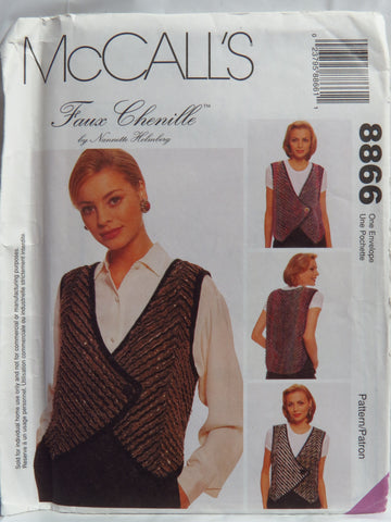 McCall's 8866 Misses' Faux Chenille Vest -  - Smiths Depot Sewing Pattern Superstore