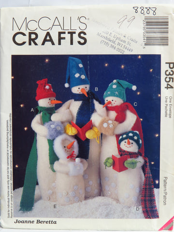 McCall's 0354 Snow Carolers Snowmen -  - Smiths Depot Sewing Pattern Superstore