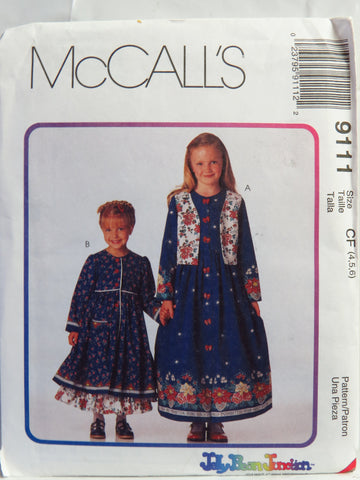McCall's 9111 Children's and Girls' Lined Vest, Dress in Two Lengths and Petticoat - CF (4-5-6) - Smiths Depot Sewing Pattern Superstore