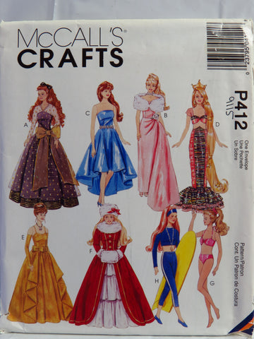 "McCall's 0412 Clothes for 11½"" Fashion Dolls -  - Smiths Depot Sewing Pattern Superstore"