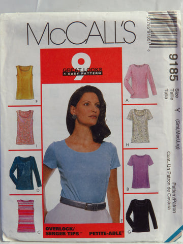 McCall's 9185 Misses' Tops - Y (8-10-12-14-16-18) - Smiths Depot Sewing Pattern Superstore