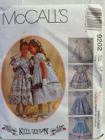 McCall's 9202 Children's and Girls' Dress with Attached Petticoat, Sash and Headband - CF (4-5-6) - Smiths Depot Sewing Pattern Superstore