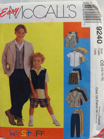 McCall's 9240 Children's and Boys' Unlined Jacket, Lined Vest, Shirt, Pants and Shorts - CS (12-14-16) - Smiths Depot Sewing Pattern Superstore