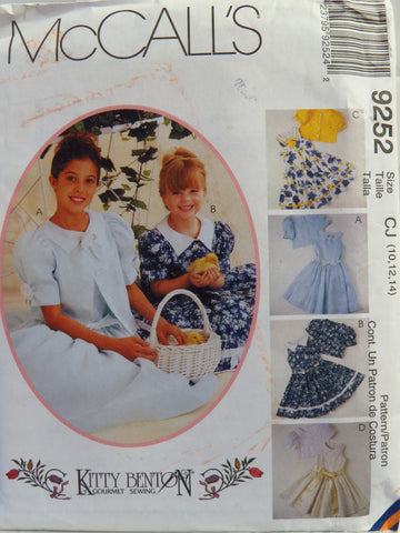 McCall's 9252 Children's and Girls' Jacket and Dress with Attached Petticoat - CJ (10-12-14) - Smiths Depot Sewing Pattern Superstore