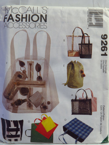 McCall's 9261 Tote Bags and Backpacks -  - Smiths Depot Sewing Pattern Superstore