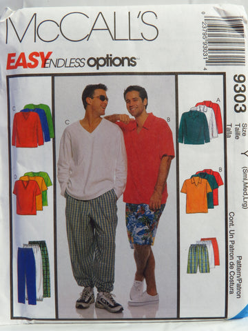 McCall's 9303 Men's Top, Pull-On Pants and Shorts - Y (34-36-38-40-42-44) - Smiths Depot Sewing Pattern Superstore