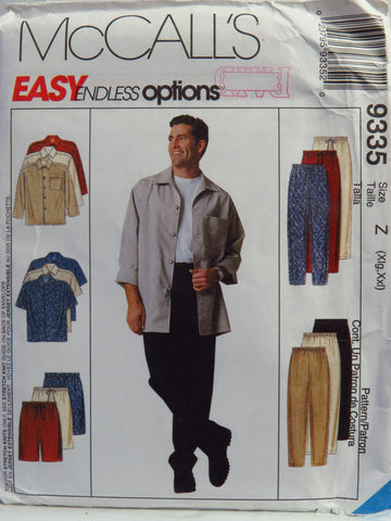 McCall's 9335 Men's Shirt, Pull-On Pants and Shorts - Z (46-48-50-52) - Smiths Depot Sewing Pattern Superstore