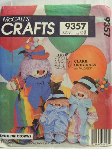 McCall's 9357 Clarence the Clown -  - Smiths Depot Sewing Pattern Superstore