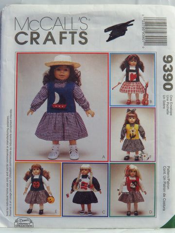 "McCall's 9390 Jumper, Blouse and Top for 18"" Doll with Six Appliques -  - Smiths Depot Sewing Pattern Superstore"