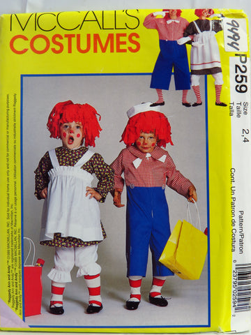 McCall's 0259 Misses'/Men's/Boys'/Girls' Raggedy Ann and Andy™ Costumes - Childs' (2-4) - Smiths Depot Sewing Pattern Superstore  - 1
