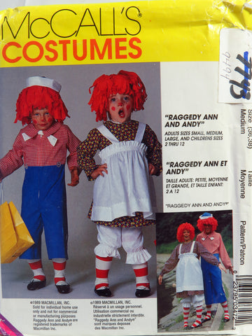 McCall's 0347 Misses'/Men's/Boys'/Girls' Raggedy Ann and Andy™ Costumes - Adult (36-38) - Smiths Depot Sewing Pattern Superstore