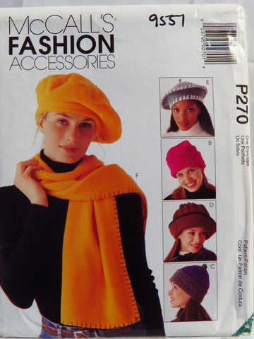 McCall's 0270 Hats, Scarves, Tote and Blanket -  - Smiths Depot Sewing Pattern Superstore