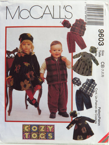 McCall's 9603 Toddlers' Dress, Vest, Pull-On Pants and Hats - CB (1-2-3) - Smiths Depot Sewing Pattern Superstore