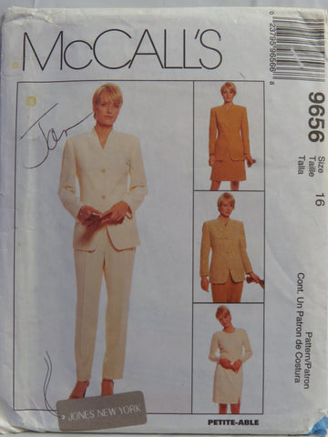 McCall's 9656 Misses' Lined Jacket, Skirt and Pants - (16) - Smiths Depot Sewing Pattern Superstore