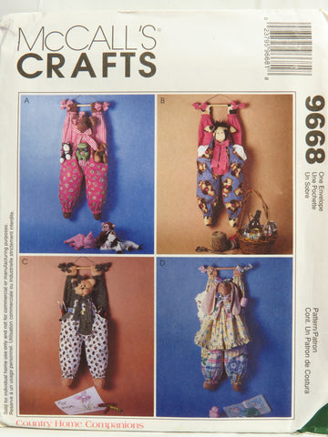 McCall's 9668 Bear, Bunny, Cat and Cow Hanging Bag Holders -  - Smiths Depot Sewing Pattern Superstore