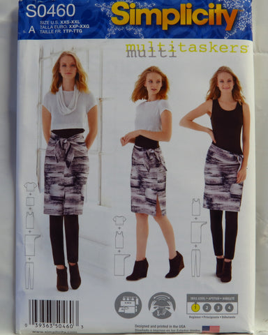 "Simplicity 0460 Misses' Knit Leggings, Tank-Top, Crop Tee, Sarong and 12"" Column - A (XXS-XXL) - Smiths Depot Sewing Pattern Superstore"