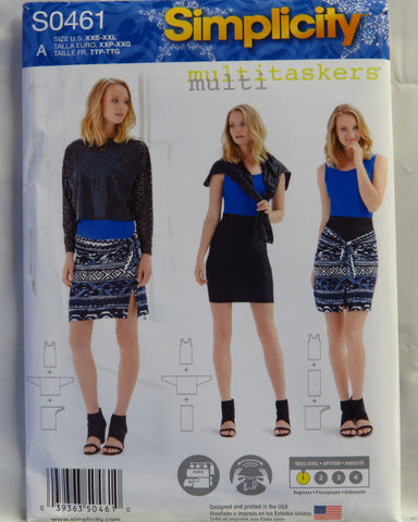 "Simplicity 0461 Misses' Knit Tank-Top, Sarong, 24"" Column and Slouchy Top - A (XXS-XXL) - Smiths Depot Sewing Pattern Superstore"