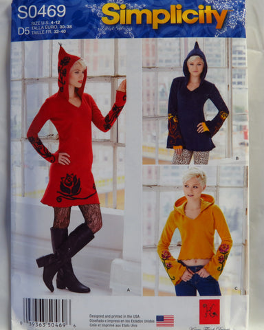 Simplicity 0469 Misses' Knit Dress, Tunic and Top - D5 (4-6-8-10-12) - Smiths Depot Sewing Pattern Superstore  - 1