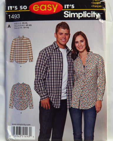 Simplicity 1493 Misses' and Men's Longsleeve Button Up Shirt - A (XS-XL) - Smiths Depot Sewing Pattern Superstore