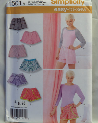 Simplicity 1501 Misses' Shorts with Fabric and Trim Variations and Knit Top - A (XXS-XXL) - Smiths Depot Sewing Pattern Superstore