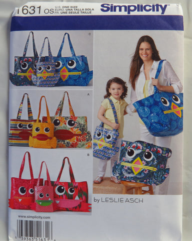 Simplicity 1631 Totes in Three Sizes -  - Smiths Depot Sewing Pattern Superstore