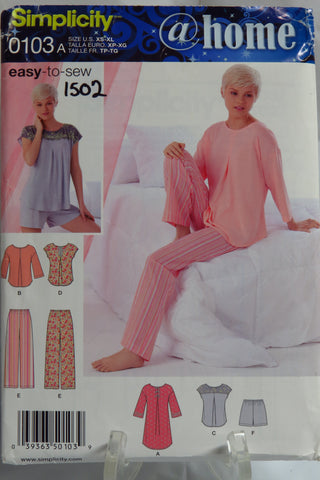 Simplicity 0103 Misses' Pants or Shorts and Nightshirt or Top - A (XS-S-M-L-XL) - Smiths Depot Sewing Pattern Superstore