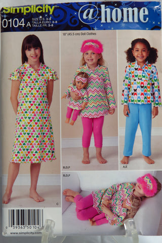 Simplicity 0104 Child's Knit Top, Tunic, Dress, Pants, Leggings and Eye Mask. -  - Smiths Depot Sewing Pattern Superstore