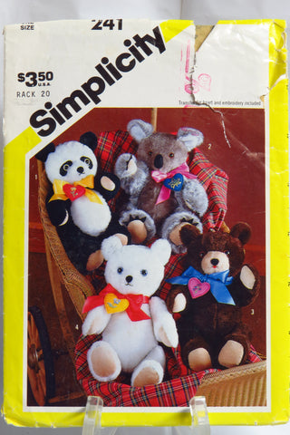 Simplicity 0241 Four Chic Bears 1983 -  - Smiths Depot Sewing Pattern Superstore