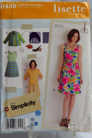 Simplicity 0459 Misses' Dress and Jacket - R5 (14-16-18-20-22) - Smiths Depot Sewing Pattern Superstore