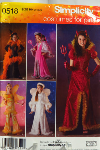 Simplicity 0518 Girl's Costumes. Angel, Fairy, Devil, Witch or Princess. -  - Smiths Depot Sewing Pattern Superstore