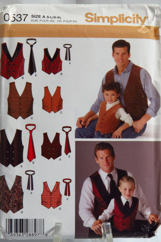 Simplicity 0537 Boys' and Men's Vests and Ties -  - Smiths Depot Sewing Pattern Superstore